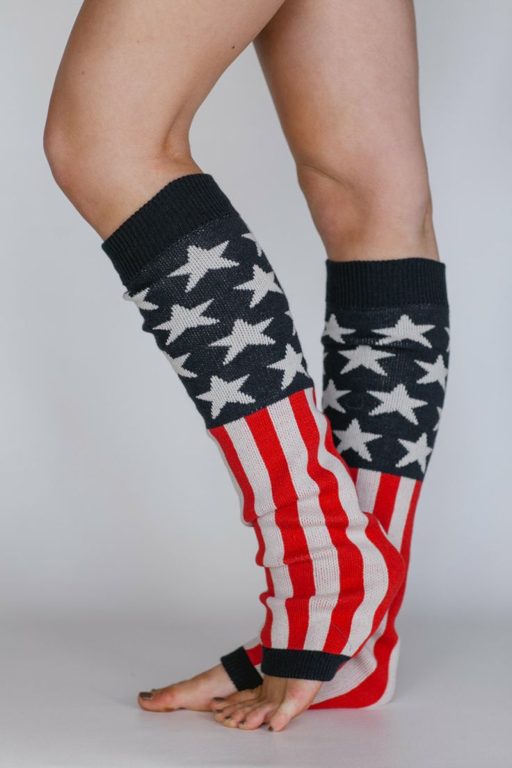 American Flag Print Sweater Knit Over the Knee Leg Warmers - Old Glorya American Flag Leg Warmers. $38.99, via Etsy.
