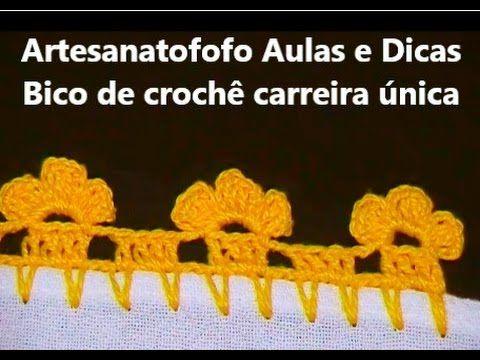 Bico em crochê Trevinho - CROCHÊ 24 - (INICIANTES) - YouTube
