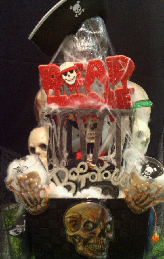 lg halloween skull pirate basket decoration by cappelloscreations 6500 etsy