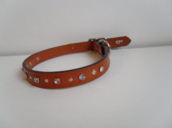 Pink Leather Dog Collar Pet Collar Rhinestone by StarBoundWestern