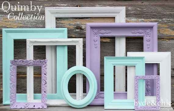 Lavender and aqua picture frames for baby girl nursery decor by Hyde&Chic Boutique