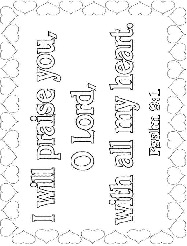 Bible Verse Coloring Pages Psalm 9 1 Memory Verse