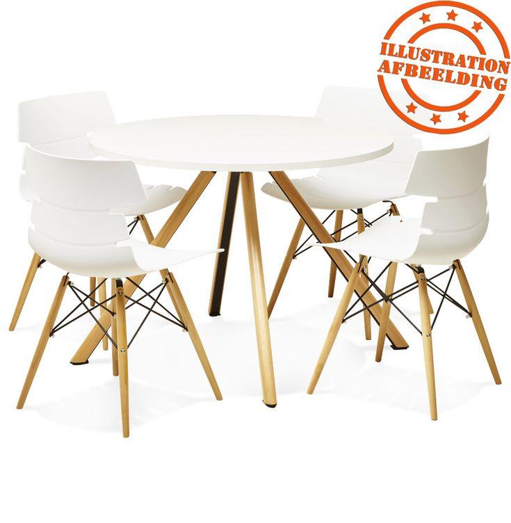 Ronde, witte keukentafel 'SOUKOUP' in Scandinavische stijl