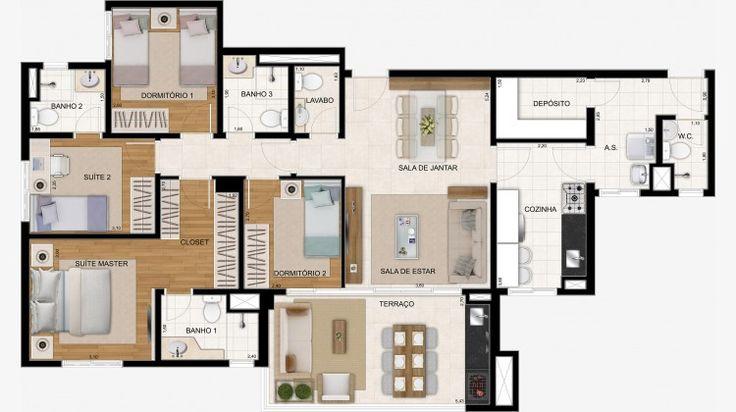 Apto de 122 m² com 2 suítes e 2 dorms + lavabo.