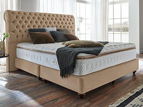 Boxspringbett 180x200 Beige Velour Montana Hotelbett Doppelbett Matratze Topper Modern Luxusbett
