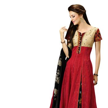 #Red #AnarkaliChuridar Kameez
