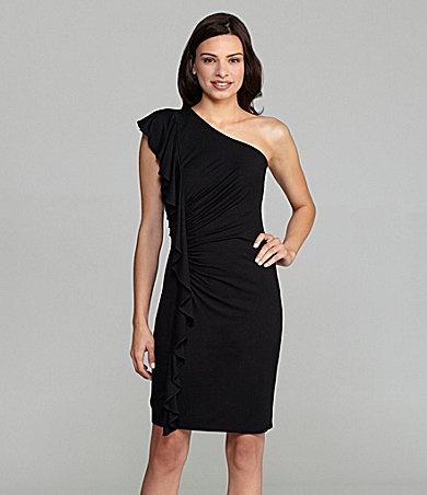 Calvin Klein One-Shoulder Ruffle Dress | Dillards.com