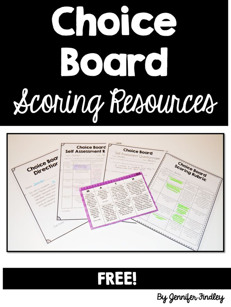 Choice Board Scoring Resources {Freebies} - Perfect for using Choice Boards in the Classroom!