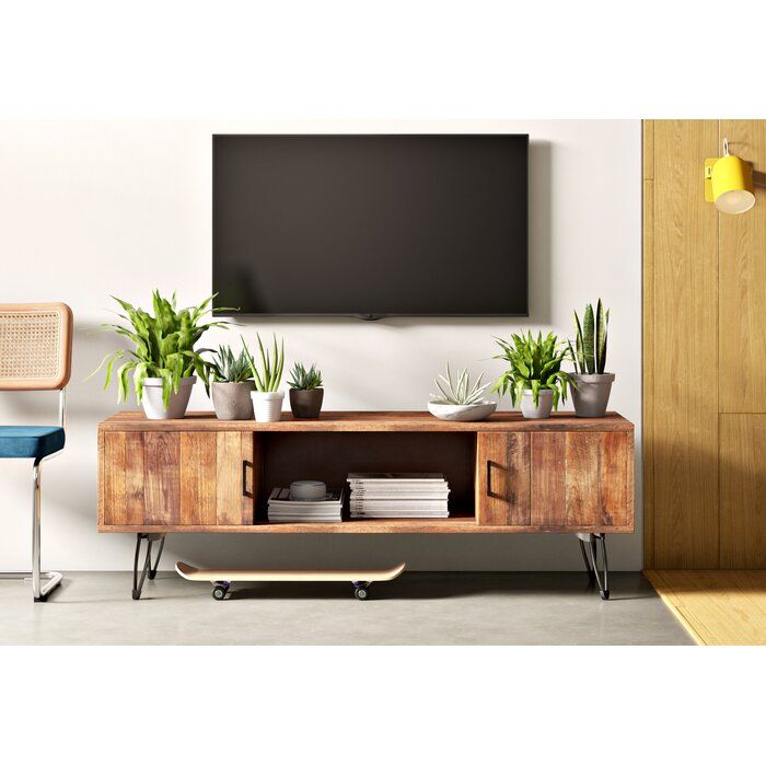 Adger Solid Wood Tv Stand For Tvs Up To 65 Inches Reviews Allmodern Tv Stand Decor Living Room Living Room Tv Stand Modern Living Room