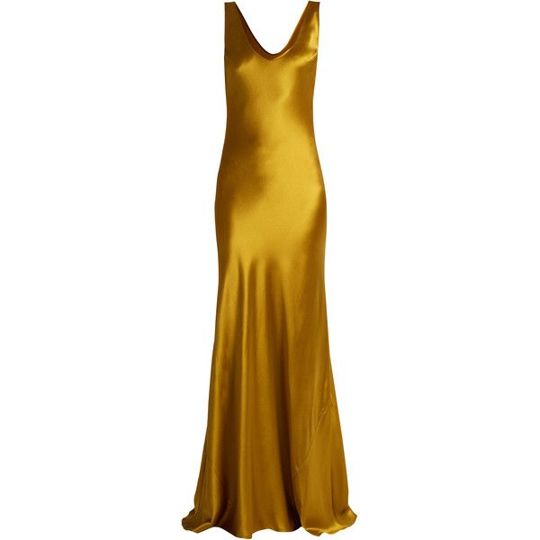Galvan Valletta silk-satin slip dress ($1,295) ❤ liked on Polyvore featuring dresses, galvan, gold, grunge dress, brown dress, drape dress, silk satin dress and bias cut dress
