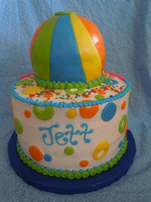 Beach Ball Theme Party - by sweetpeacakemom @ CakesDecor.com - cake decorating website