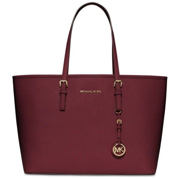 Michael Michael Kors Cherry Jet Set Travel Medium Multifunction Tote ($298) ❤ liked on Polyvore featuring bags, handbags, tote bags, cherry, tote purse, red tote, red tote purse, tote hand bags and tote handbags