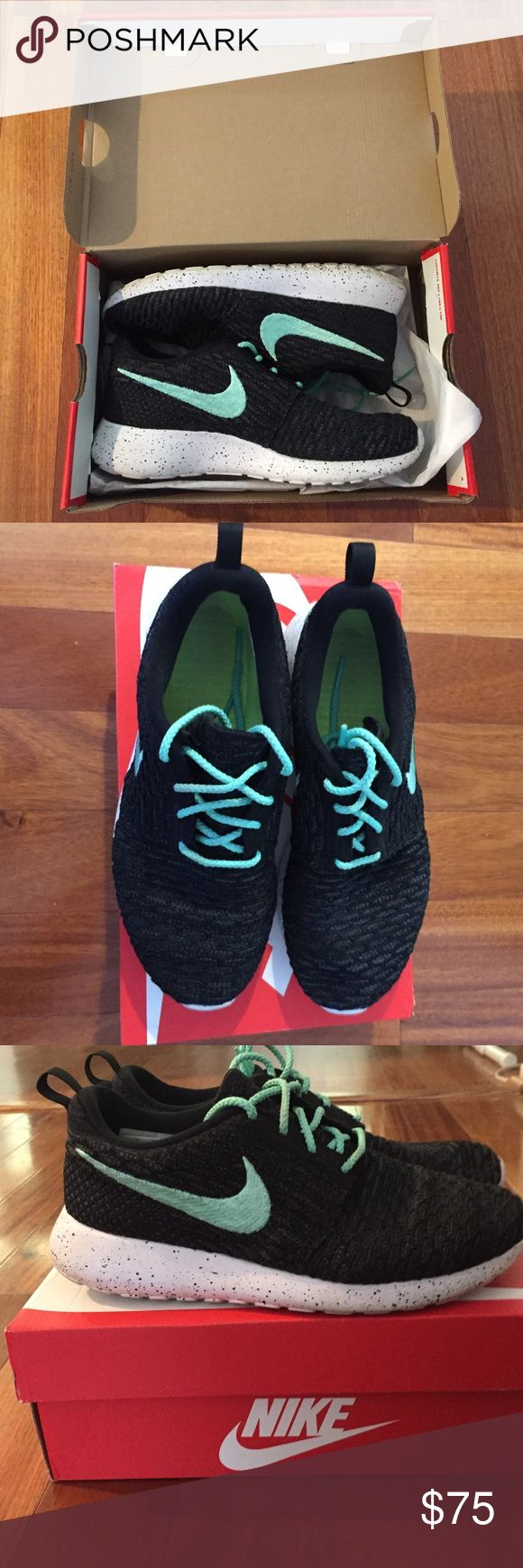 Nike ID Roshe one Custom Nike ID's black with mint green laces and swoosh. Speckled black and white sole. Worn but in excellent condition. Comes in box. No trades! I don't negotiate in comments so please use the offer button for offers! Nike Shoes Athletic Shoes