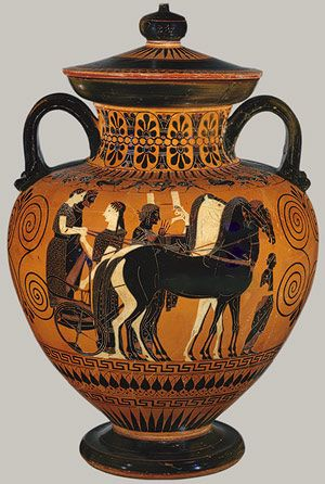 Neck-amphora, ca. 540 b.c.; Archaic; black-figure  Attributed to Exekias  Greek, Attic  Terracotta