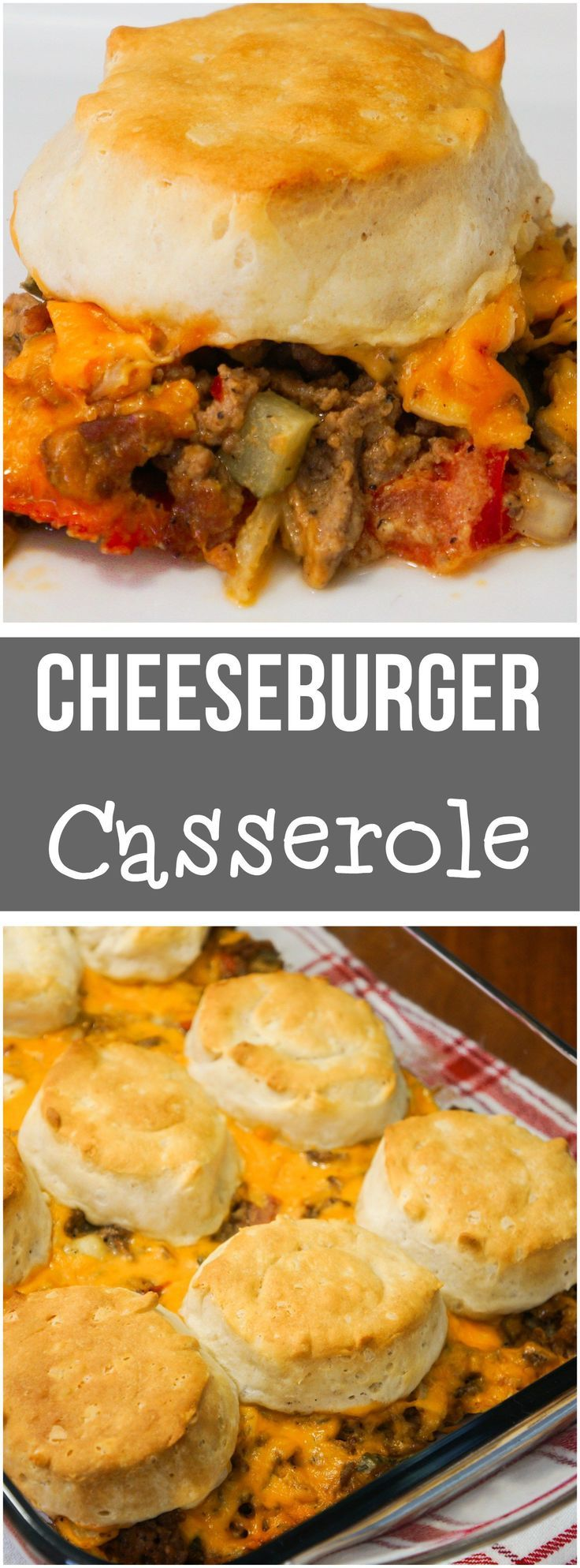 This Cheeseburger Casserole is a great easy dinner recipe using ground beef. All the components of a hamburger in a one dish meal. #dinner #cheese