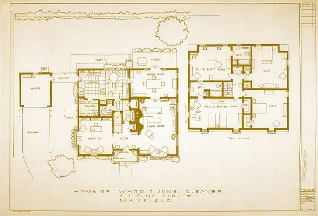 Floor Plan For The Home Of June And Ward Cleaver Movie