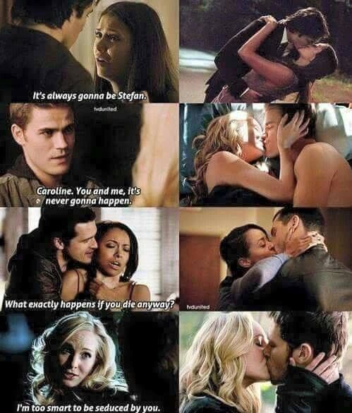 The Vampire Diaries... Stop stop stop with just pairing them with whoever is single on the show! Except Klaroline, Klaroline forever.
