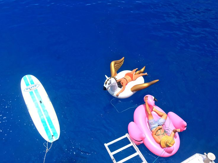 Floating around on a giant pink swan and pegasus