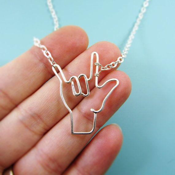 ASL I Love You Sign Symbol Necklace, Deaf Sign, Interpretor, Sign Language, Wire Wrap Love Symbol Jewelry Gifts Under 20