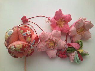 Beautiful!Cherry blossom made from Chirimen Kimono fabric