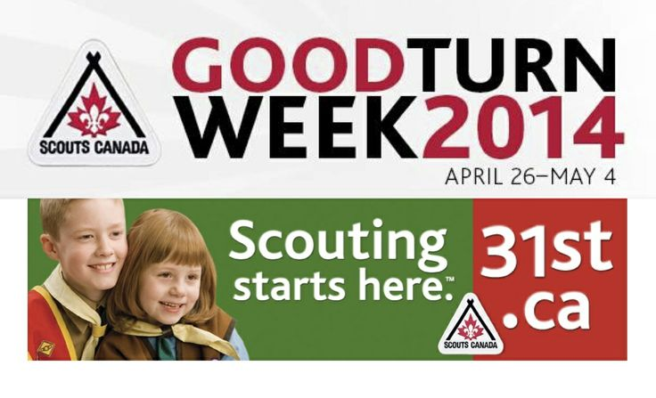 """Scouts """"Good Turn Week"""" 2014 is coming, Apr. 26 to May 4. Get in the spirit. Help Scouts make communities across Canada and throughout Southern Alberta including Calgary even better places to call home. Support us in our community service projects and join us in random acts of kindness."""