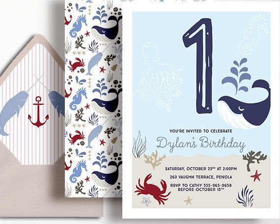 1st Birthday Invitation Boys Nautical Ocean by WestminsterPaperCo