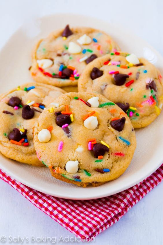 Cake Batter Chocolate Chip Cookies. My most popular recipe EVER.: