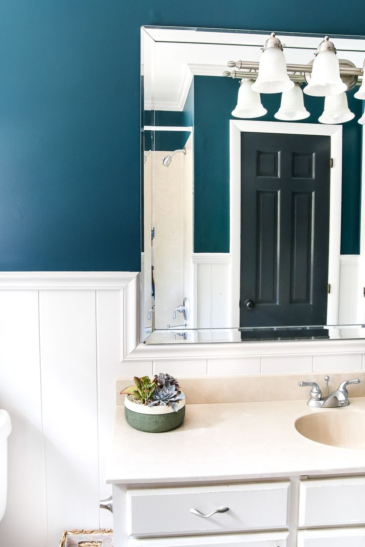 Teal painted bathroom makeover paint colors bathroom - Bathroom color schemes brown and teal ...