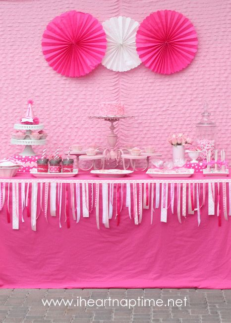 Pretty in Pink party: Emmalyn is 1! | ChickabugBirthday Parties, Pink Ribbons, 1St Birthday, First Birthday, Parties Ideas, Pink Birthday, Baby Shower, Birthday Ideas, Pink Parties