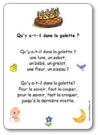 Qu'y a-t-il dans la galette ? Une lune, un sabot, un bébé, un grelot, une fleur, un oiseau? Pleins de chansons, comptines et poésies sur la galette des rois