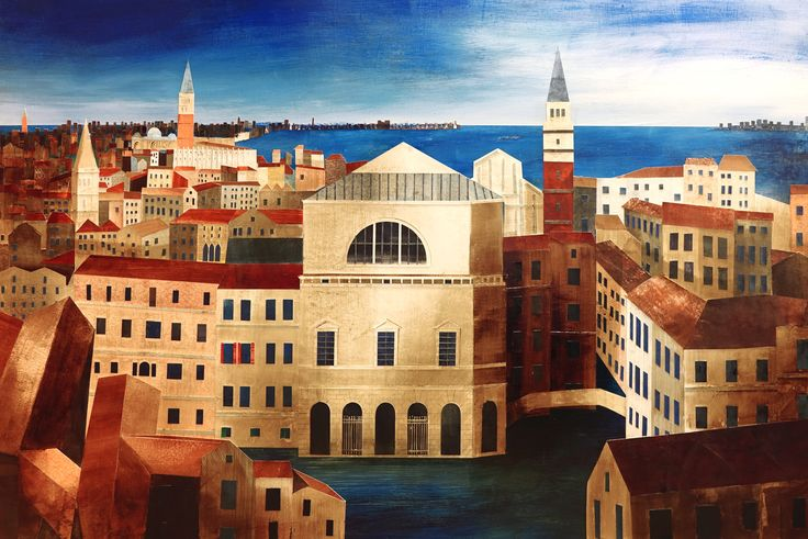 'La Fenice, Venice' by Ed Kluz, 2016 (Collage on Board)