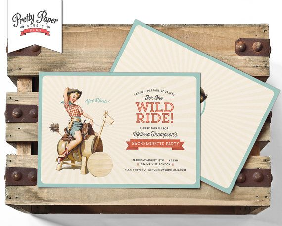 Retro Cowgirl Bachelorette Party Invitation // 50s Hens Night Invite // Country Pinup Girl // Printable Digital DIY