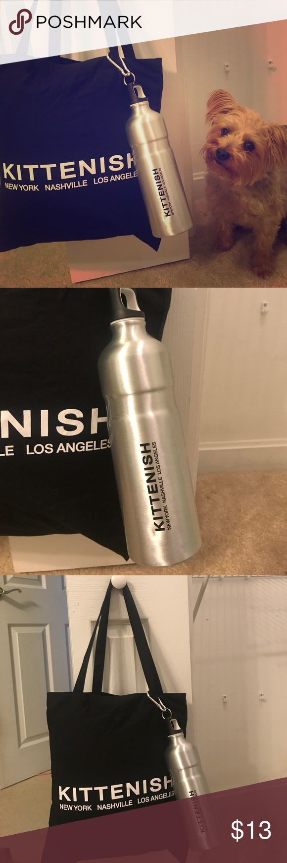 BUNDLE!  Kittenish Tote and aluminum water bottle Never been used exclusive black Kittenish Tote with white lettering . Never been used aluminum Kittenish water bottle. Kittenish Bags Totes
