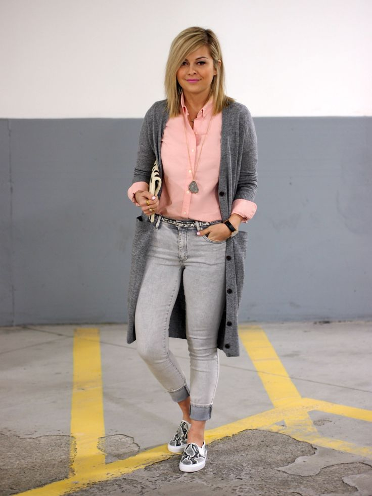 gray jeans and cardigan with peach shirt