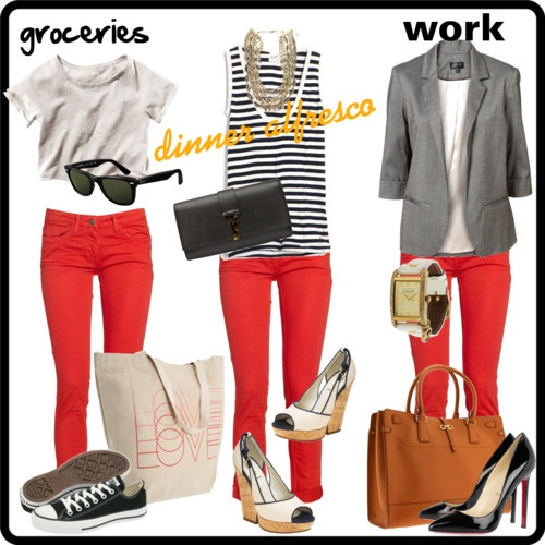 red pants  three ways to wear your red pants this summer going for this style this summer. C.A.A