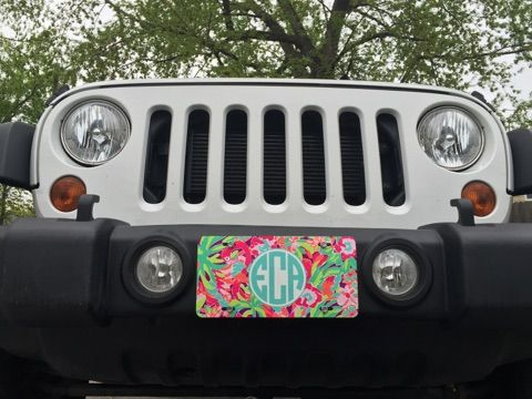 Jeep Wrangler with a Lilly Pulitzer monogrammed license plate