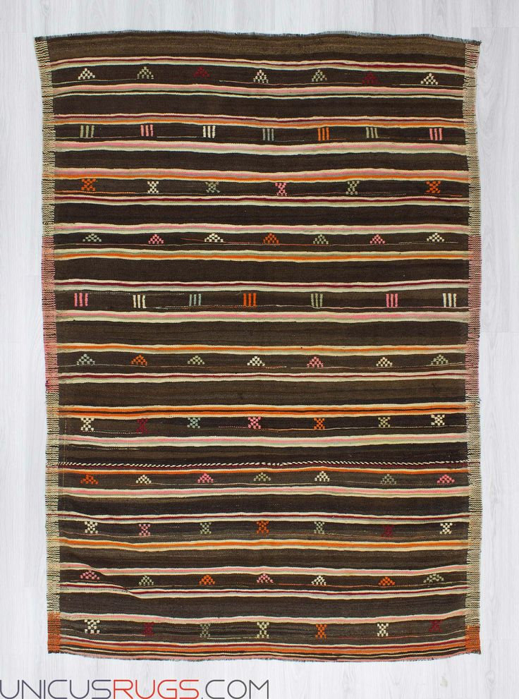 """Handwoven vintage striped kilim rug from Balikesir region of Turkey. In very good condition. Approximately 45-55 years old. Width: 5' 7"""" - Length: 7' 10"""" Striped Kilims"""