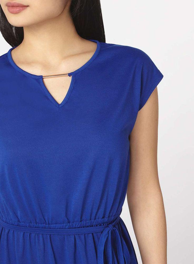 Womens Petite Cobalt Jersey Maxi Dress- Blue