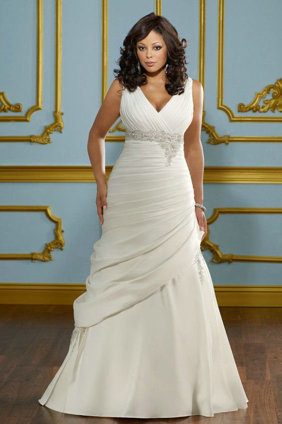 V Neck Taffeta Beading Empire Shirring Vintage Side Peplum Wedding Dress Plus Size