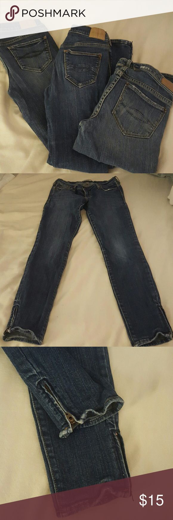 Girls size 14 Abercrombie jeans & capris 1 pair of full length Abercrombie jeans, 1 pair of Abercrombie ankle length skinny jean with zipper detail at ankles and 1 pair of Abercrombie Jean Bermuda shorts/capris.  All 3 are stretchy and all gently used. Abercombie Kids Bottoms Jeans