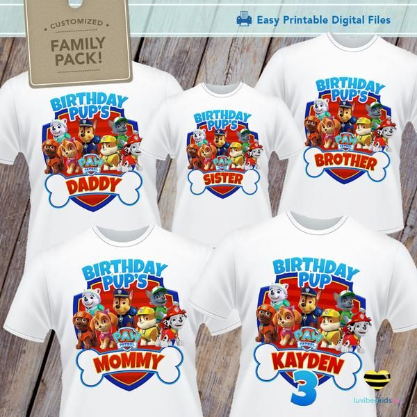Paw Patrol iron on Designs for Family Shirts Digital Graphics Only | You will need to print these yourself I can print & ship for you. Please use this listi