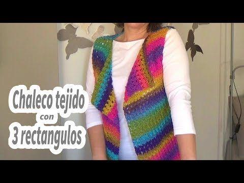 Como hacer un chaleco en crochet facil con 3 rectangulos | Ganchillo facil - YouTube