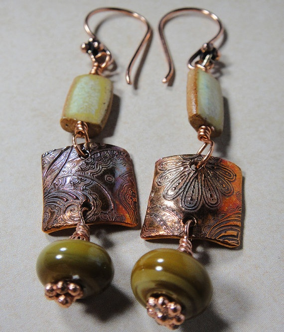 Copper Paisely Square PMC Lampwork and by PattiVanderbloemen, $40.00: Gifts Cards, Pai Squares, Artisan Styl Jewelry, Gift Cards, Copper Pais, 40 00, Arti Earrings, Squares Pmc, Pais Squares