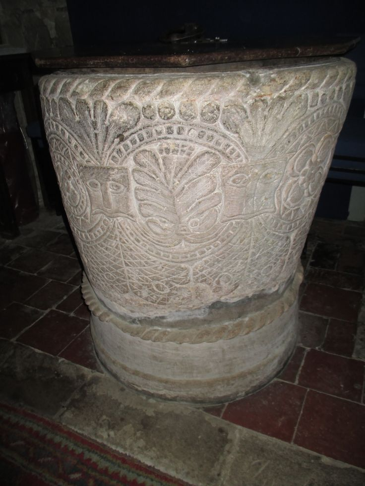 Anthony Sargeant photographed this medieval baptismal font in Morville Church, Shropshire, UK. The carving is related to the Herefordshire school of stone carving.