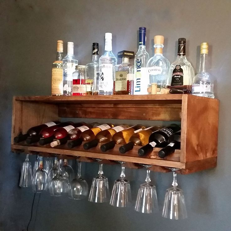 Custom Made Lighted Wine Bottle And Glass Rack Alcohol