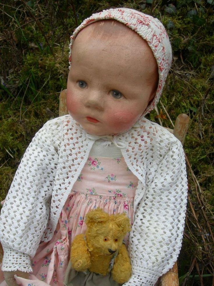 Alte antike Käthe Kathe Kruse Puppe Doll Baby Du Mein, Stoffkopf, 1930er J