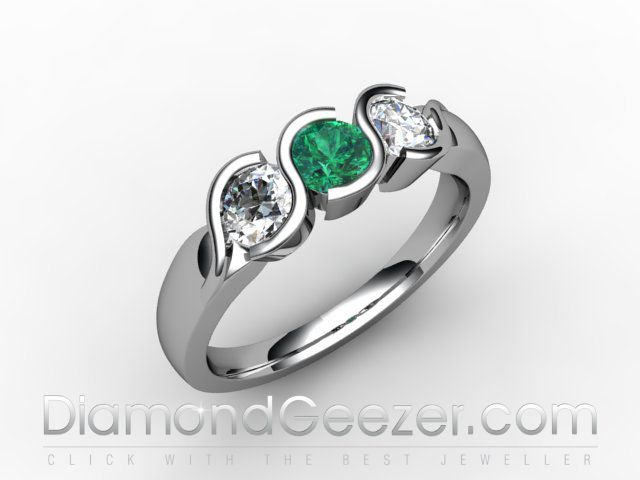 Emerald and Diamond Trilogy Ring in hallmarked 18ct white gold. Speak to our designers at DiamondGeezer.com to get your perfect coloured gemstone eternity ring.