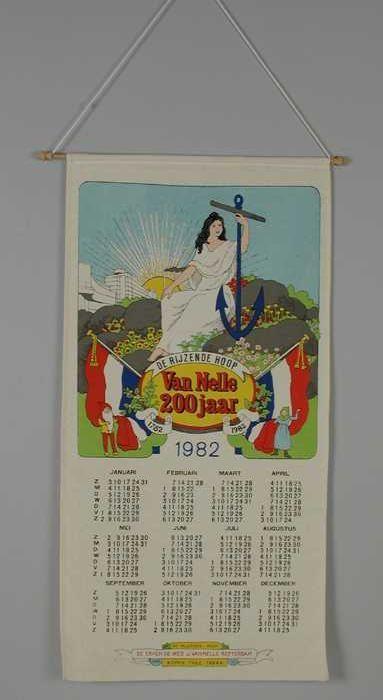 """Op textiel gedrukte kalender, """"Van Nelle 1982"""""""