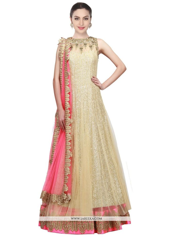 Look sensationally awesome with this gold net floor length anarkali salwar suit. The fantastic attire creates a dramatic canvas with wonderful embroidered and patch border work. Comes with matching bo...