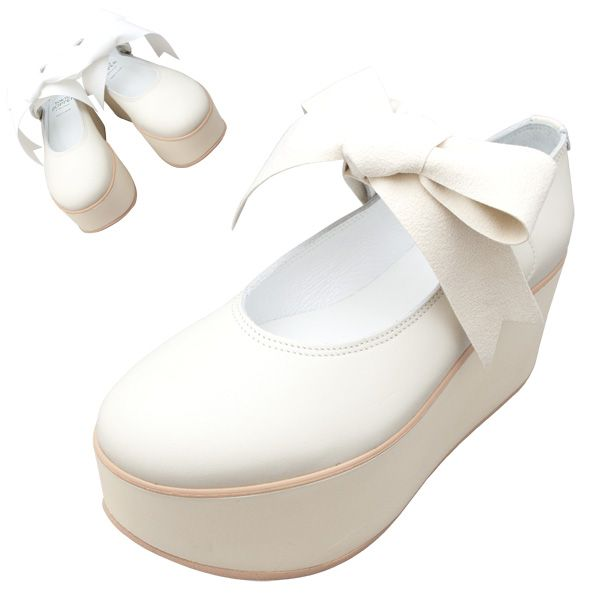 TOKYO BOPPER No.926 / Ivory smooth ribbon shoes featured on Jzool.com